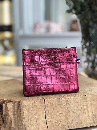 Porte-monnaie - Croco métal rubis
