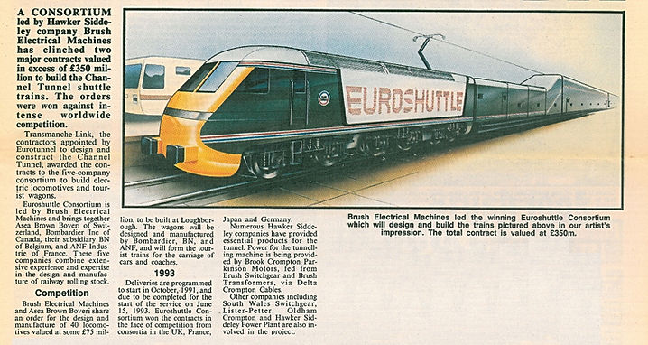 1989-Brush secures Channel Tunnel Loco contract