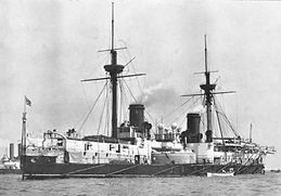 HMS Invincible (launched in1869) was fitted with Brush lights in 1888