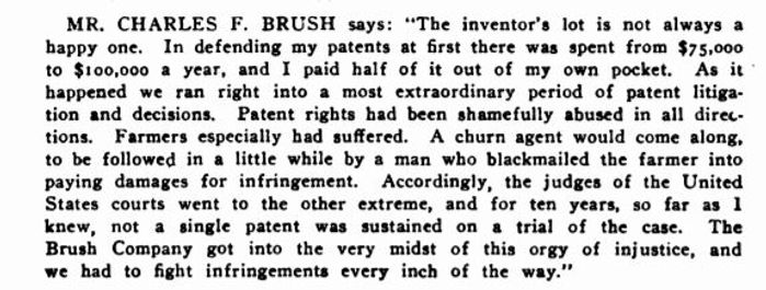 1903 Electrical World - Patent litigation remarks by CFB
