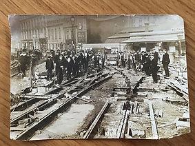 London tram lines installation 2