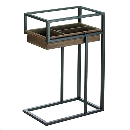 space saver wood and iron end table with pull out drawer