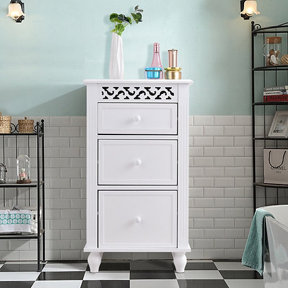 Bathroom white cabinet with 3 drawers