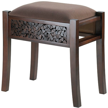 brown wooden foot stool with engraved mosaic wood