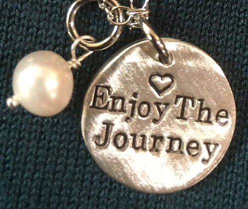 Enjoy The Journey Hand Stamped Pewter Circle With Pearl