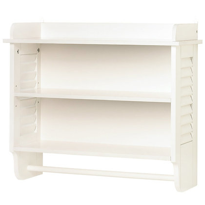 Bathroom cabinet with shelves and towel bar