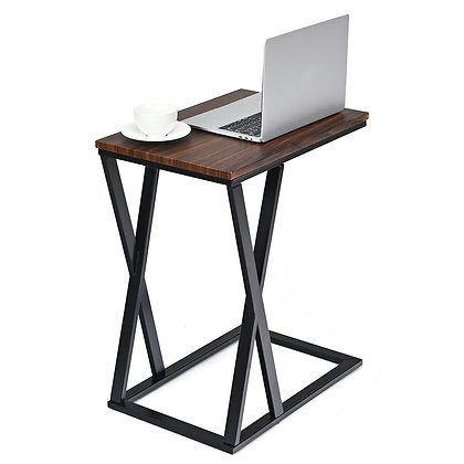 Metal end table with wood top