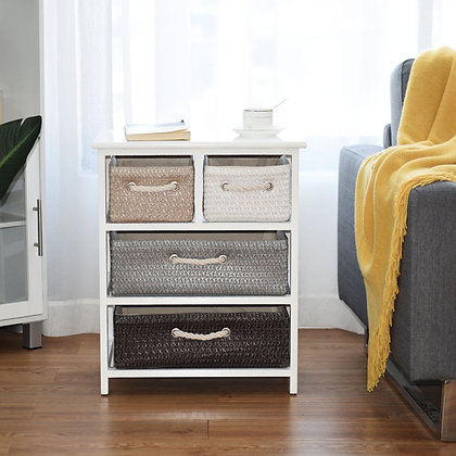 White storage cabinet, 4 shelves, baaskets