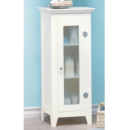 glass front white cabinet