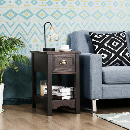 Wooden small end table with drawer