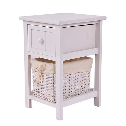 Small white nightstand with drawer and basket shelf