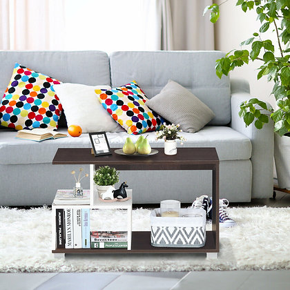 storage coffee table with 3 shelves