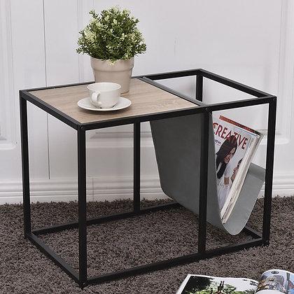 Metal side table with magazine rack