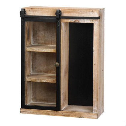 wood wall cabinet, sliding glass door, shelves, chalkboard