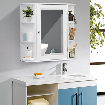 White bathroom cabinet with storage sides and mirror