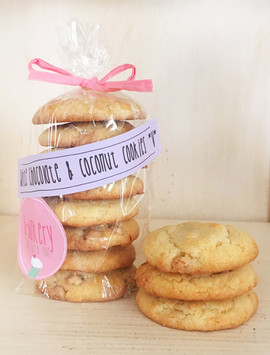 white chocolate & coconut cookies *v*