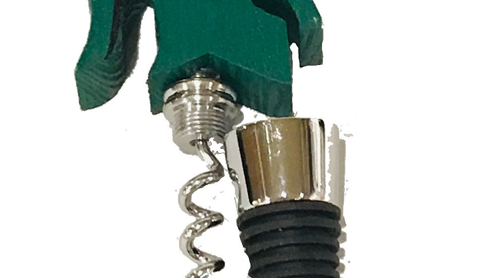 Wine Stopper - MSU Michigan State Sparty-Shape with built-in Corkscrew