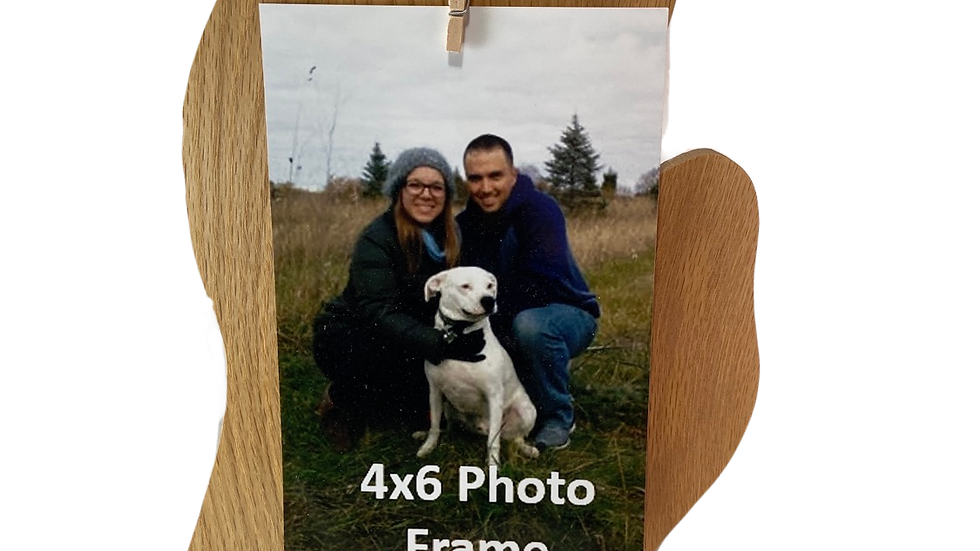 Picture Frame 4x6 - Michigan Mitten Shape - Solid Wood