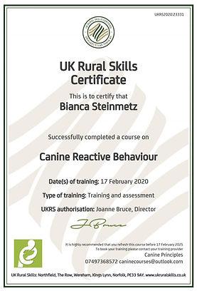Canine Reactive Behaviour - Certified.jp