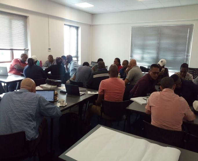 First pilot training attendees in Silulo Business Incubator, Watergate Mall, Mitchels Plain