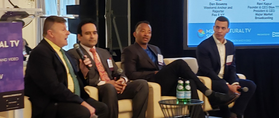 Joe moderating a panel discussion at the Multicultural TV Summit in 2019