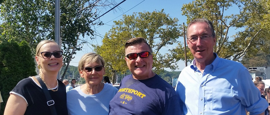 Joe Schramm with State Senator Jim Gaughran and local constituents, Kathy and Evelyn Shelley.