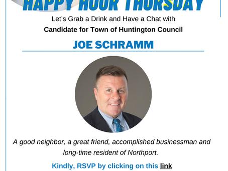 Meet Joe Schramm at Lisa Marshall's Happy Hour on Thursday, September 30, 2021