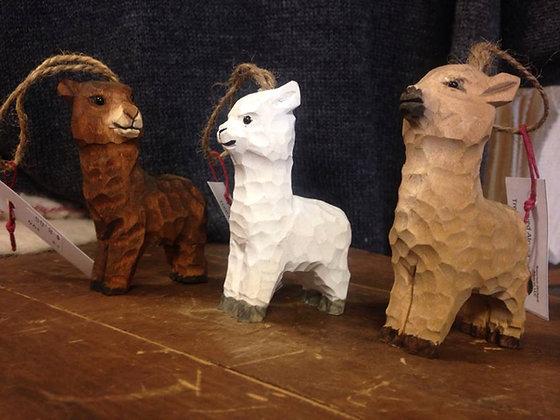 Wooden Alpaca Ornaments