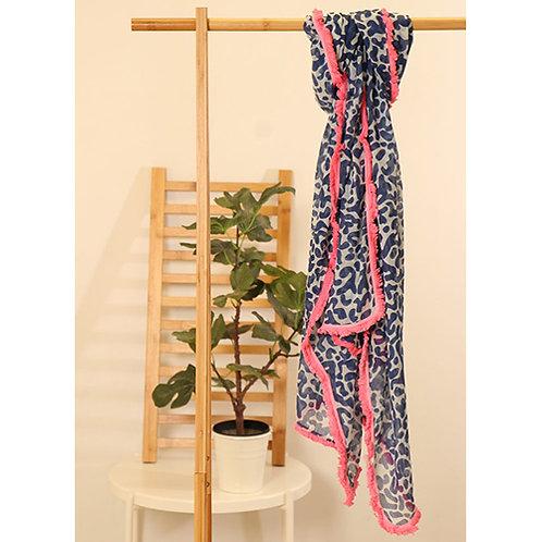 Navy leopard scarf - Pink Trim