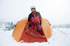 Schnee Trekker in Tent