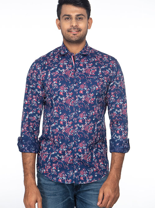 Indigo Printed Full Sleeve Shirt - 07212