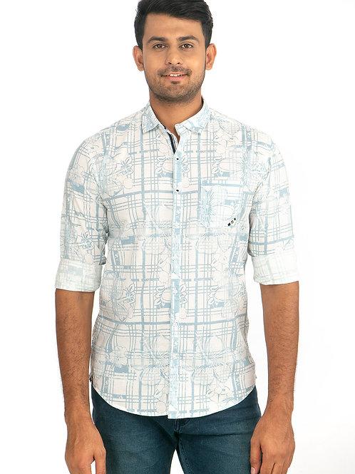 Linen Printed Full Sleeve Shirt - 107