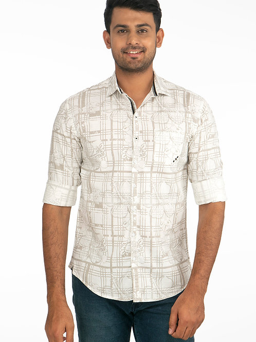 Linen Printed Full Sleeve Shirt - 107