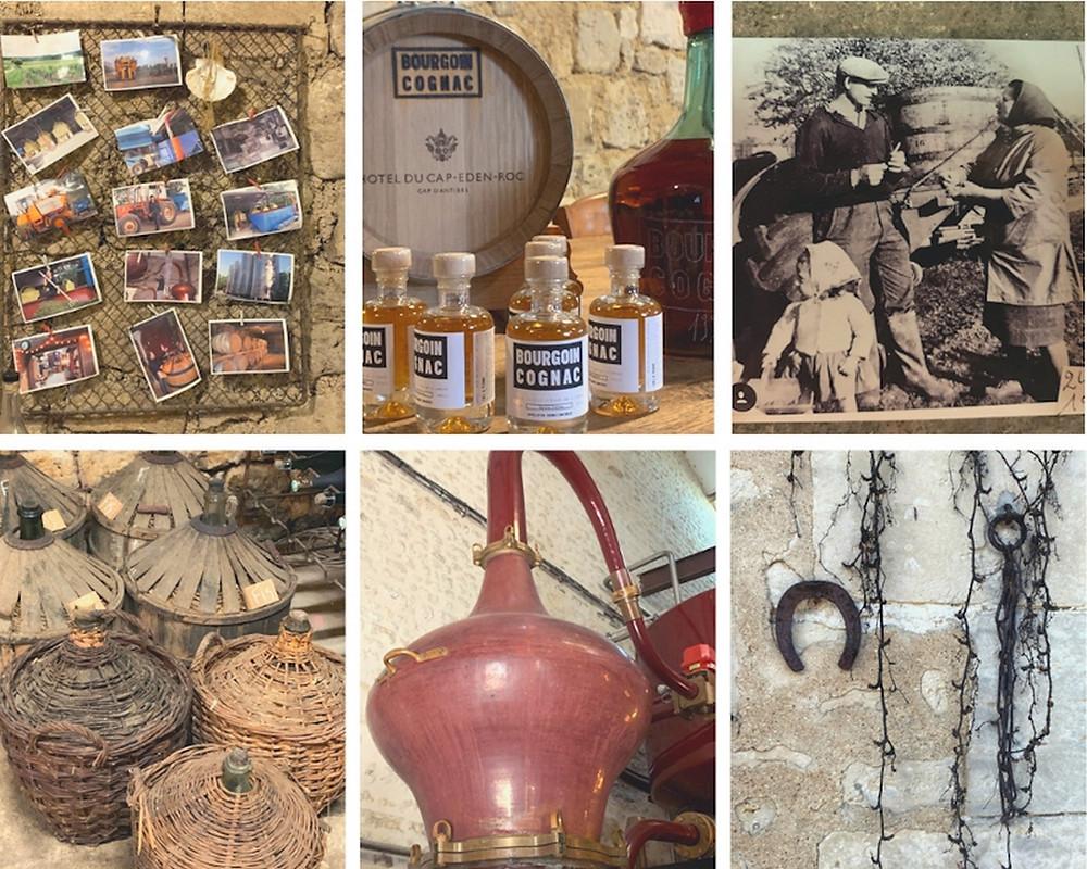 chais, distillerie des Cognac Bourgoin, dame jeanne, alambic, tonneaux