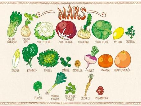 Mars, fruits et légumes de saison, illustrations de Claire Sophie Pissenlit