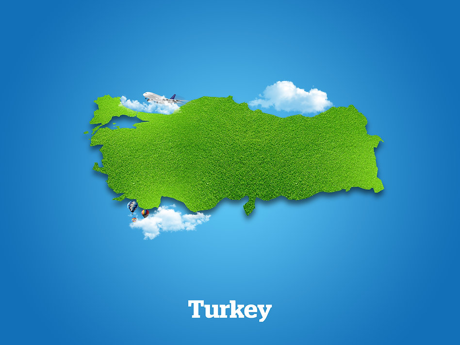 Turkey Map. Green grass, sky and cloudy