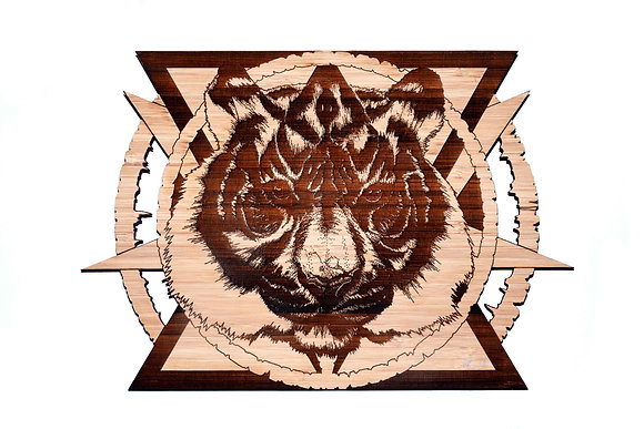 '5 way roar' Bamboo etching (limited edition)