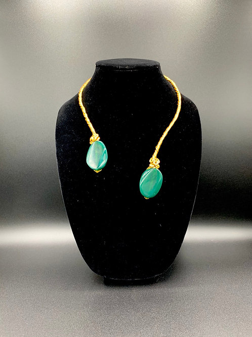 Gem Me Double Ended Necklace (Gold Green Agate)