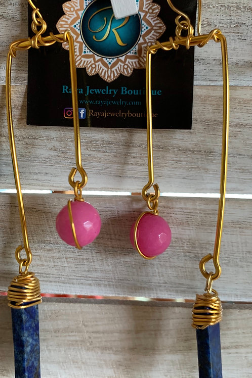 IG Large Gold Rectangle (Pink, Lapis)