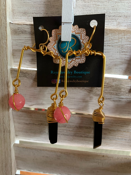 IG Small Gold Rectangle (Pink, Black)