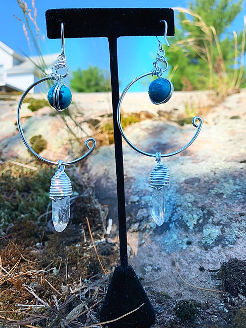 IG Small Hoops (Turquoise, Clear Quartz)