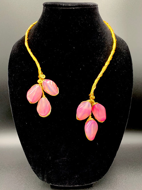 Pink Leaves Double Ended Necklace