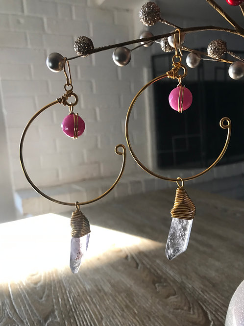IG Large Gold Circle Pink and Clear Quartz