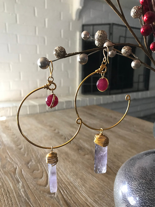 IG Large Gold Circle Pink and Amethyst