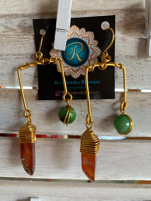 IG Small Gold Rectangle (Green, Orange)