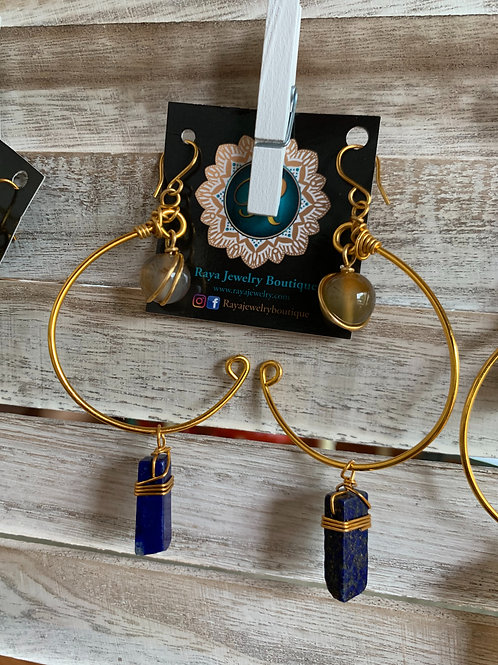 IG Small Gold Hoops (Lapis, Yellow)
