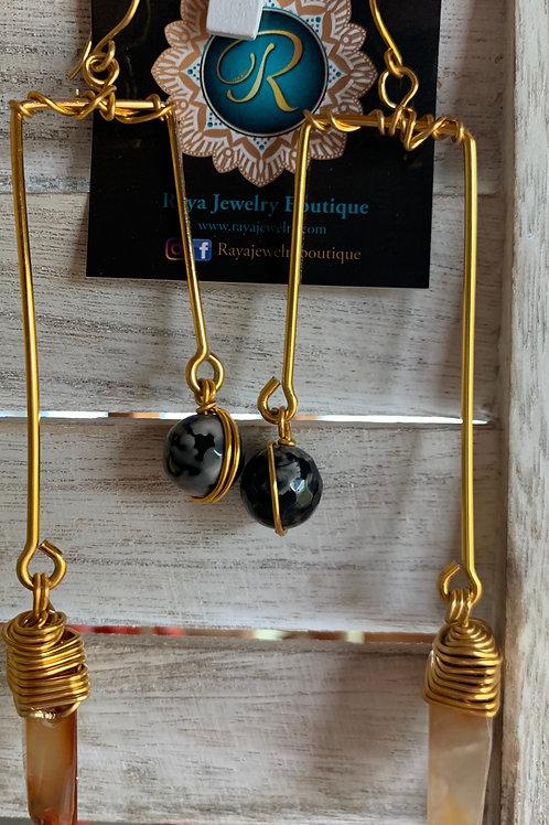 IG Large Gold Rectangle (Black, Brown)