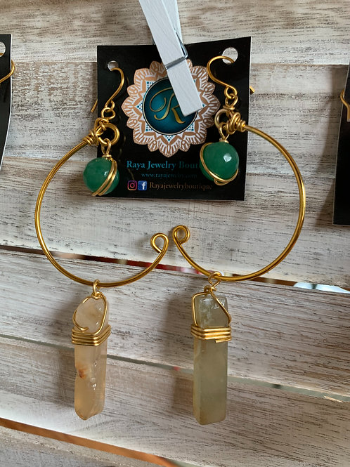 IG Small Gold Hoop (Green Agate, Citrine)