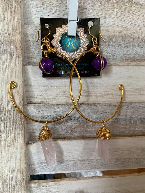 IG Large Gold Hoop (Purple, Pink)