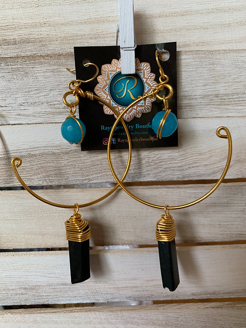 IG Large Gold Hoop (Turquoise, Black)